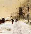 Apol Louis Wood Gathering On A Country Lane In Winter