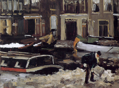 Arntzenius Floris Snow clearing on Amsterdam canal Sun