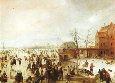 AVERCAMP A SCENE ON THE ICE NEAR A TOWN, 1610, OIL ON PANEL