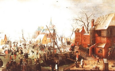 AVERCAMP WINTER SCENE AT YSELMUIDEN, 1613, OIL ON PANEL