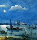 Avercamp Hendrick Fishermen at moonlight Sun
