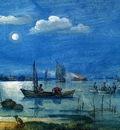 Avercamp Hendrick Fishermen at moonlight Sun