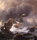 BACKHUYSEN Ludolf Ships In Distress Off A Rocky Coast