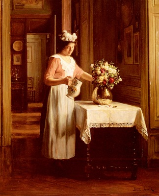 Bail Franck Antoine A Maid Watering Flowers