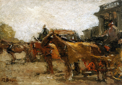 Bauer Marius Horse cabs at station Staatsspoon Den Haag Sun