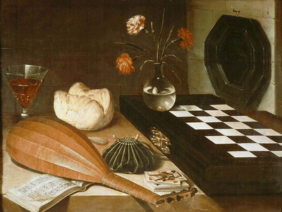 Baugin Still life with chessboard, c 1630, Louvre