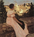 bazille the pink dress view of castelnau le lez, heraul
