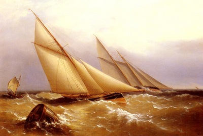 Beechey Captain Richard Brydges A Schooner And Cutter Yacht Rounding A Buoy