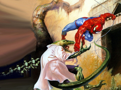 JLM Julie Bell Spiderman vs Lizard