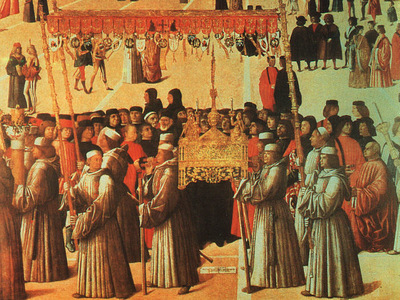 BELLINI,GENTILE PROCESSION IN THE PIAZZA DI SAN MARCO, DETAL