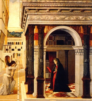 Bellini, Gentile The Annunciation 1465 end