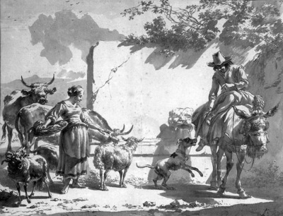 Berchem Nicolaes Mule with rider Sun