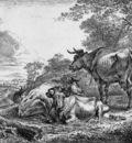 Berchem Nicolaes Three resting cows Sun