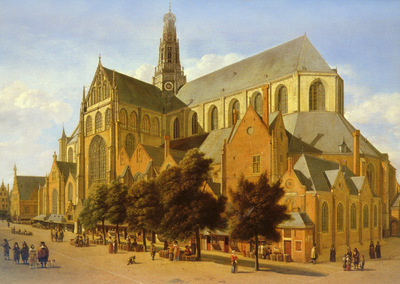 berckheyde gerrit 1638 to 1698 the exterior of the church of saint bavo in harlem snd 1666 o p