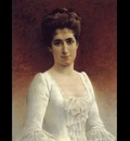 A Portrait of a Young Lady in a White Dress