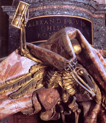 Tomb of Pope Alexander VII detail Death