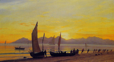 Boats Ashore At Sunset