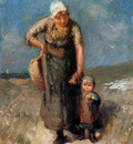Blommers Bernardus Mother and child Sun