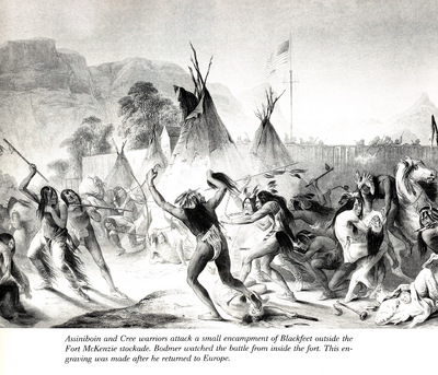 Assiniboin and Cree warriors attack Blackfeet KarlBodmer sqs