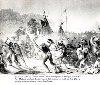 Assiniboin and Cree warriors attack Blackfeet KarlBodmer sqs