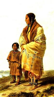 Kb 0017 Dacota Woman and Assiniboin Girl KarlBodmer, 1833 sqs
