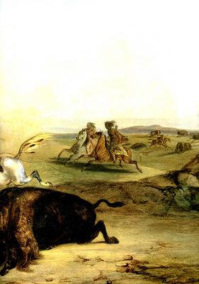 Kb 0023 Indians Hunting The Bison [ Right ] KarlBodmer, 1832 33 sqs