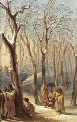 Tna 0023 Winter Village of the Minatarres [R] KarlBodmer, 1833 sqs