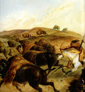 Kb 0022 Indians Hunting The Bison [ Left ] KarlBodmer, 1832 33 sqs