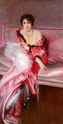 Boldini Giovanni Portrait Of Madame Juillard In Red