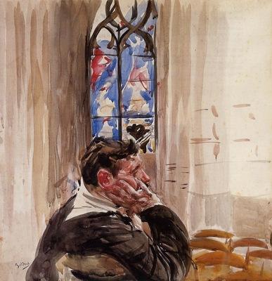 Boldini Giovanni Portrait of a Man in Church