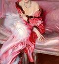 Boldini Giovanni Portrait Of Madame Juillard In Red