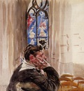Boldini Giovanni Portrait of a Man in Church