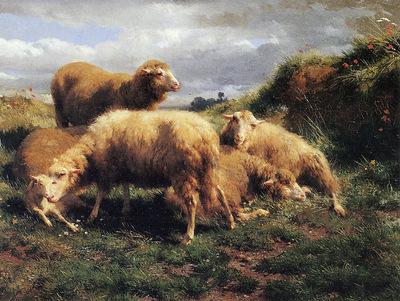 Bonheur Rosa Marie Landscape with sheeps Sun