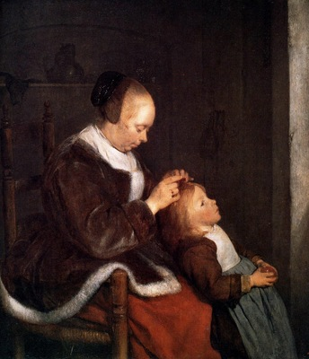 Borch ter Gerard Mother fine combing the hair of her child S