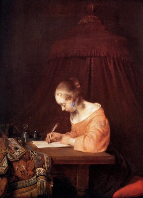 Borch ter Gerard Woman writing a letter Sun