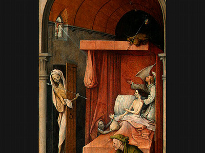 BOSCH DEATH AND THE MISER, C  1485 1490 DETALJ 1 NGW