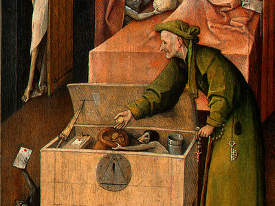 BOSCH DEATH AND THE MISER, C  1485 1490 DETALJ 3 NGW