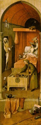 Bosch Death and the miser, ca 1490, 93x31 cm, National Galle
