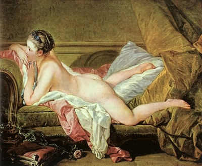 boucher nude on a sofa reclining girl , 1752, oil on ca