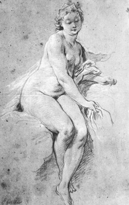 BOUCHER SEATED NUDE, DRAWING