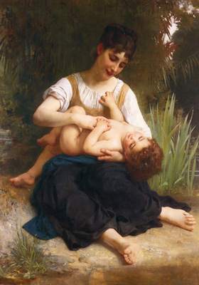 Bouguereau William Adolphe Juene Fille Et Enfant Mi Corps