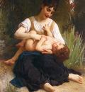 Bouguereau William Adolphe Juene Fille Et Enfant Mi Corps