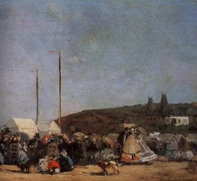 BOUDIN THE BEACH AT TROUVILLE, DETAIL, 1864, OIL ON CANVAS