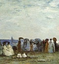 BOUDIN BATHERS ON THE BEACH AT TROUVILLE, 1869, OIL ON WOOD