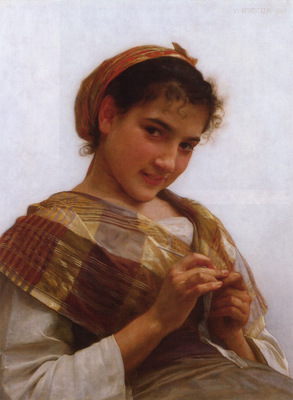 Portrait of a Young Girl Crocheting