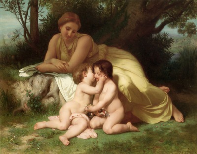 Young Woman Contemplating Two Embracing Children