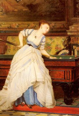 Boutibonne Charles Francois An Elegant Billiard Player