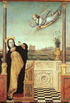 Braccesco The Annunciation, central panel of a triptych, und
