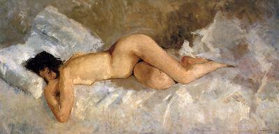 Breitner George Hendrik Lying nude Sun