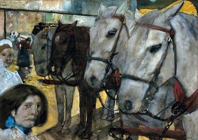 Breitner George Hendrik Tram horses on the Dam Sun